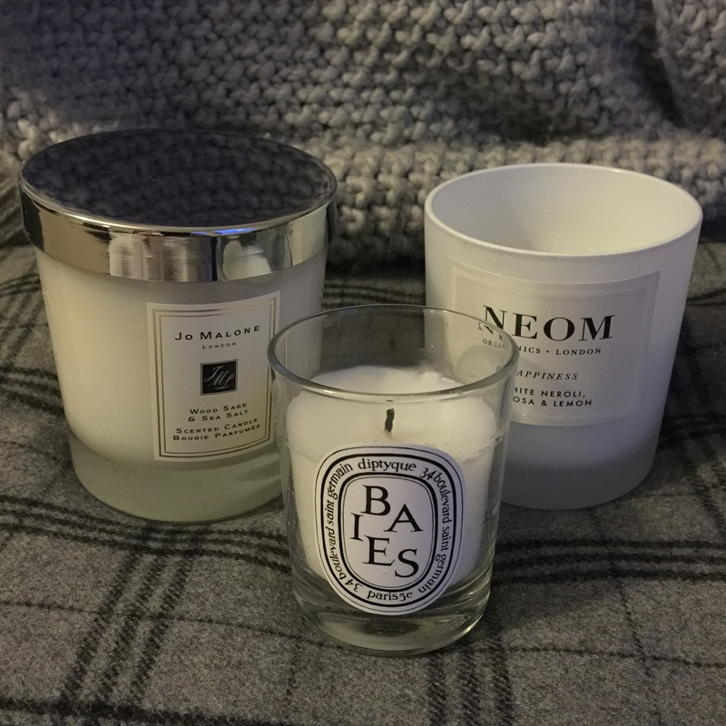 Some of my favourite candles - Jo Malone Wood Sage & Sea Salt, Neom Happiness (White Neroli, Mimosa & Lemon) and Diptyque Baies from Craft Chatterbox Blog Candle review