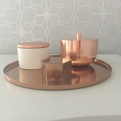 Copper trinket box and tray from H&M, canister from M&S and candle spray painted lid on Craft Chatterbox Blog