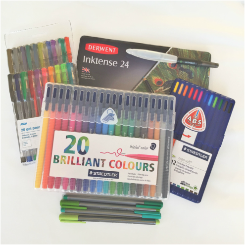 Colouring Supplies - Staedtler Triplus Fineliners, Fibre tip pens and ergo soft pencils.  Asda gel pens and Derwent Inktense pencils - Craft Chatterbox Blog