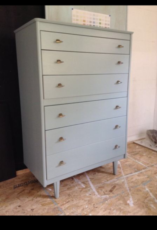 Mála Furniture drawers in General Finishes Milk Paint Persian Blue - Craft Chatterbox Blog