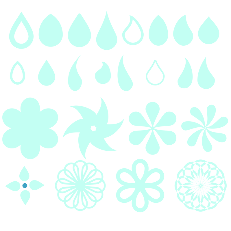 Freebie Silhouette compatible cut file with raindrop / teardrop shape and flowers from Craft Chatterbox blog