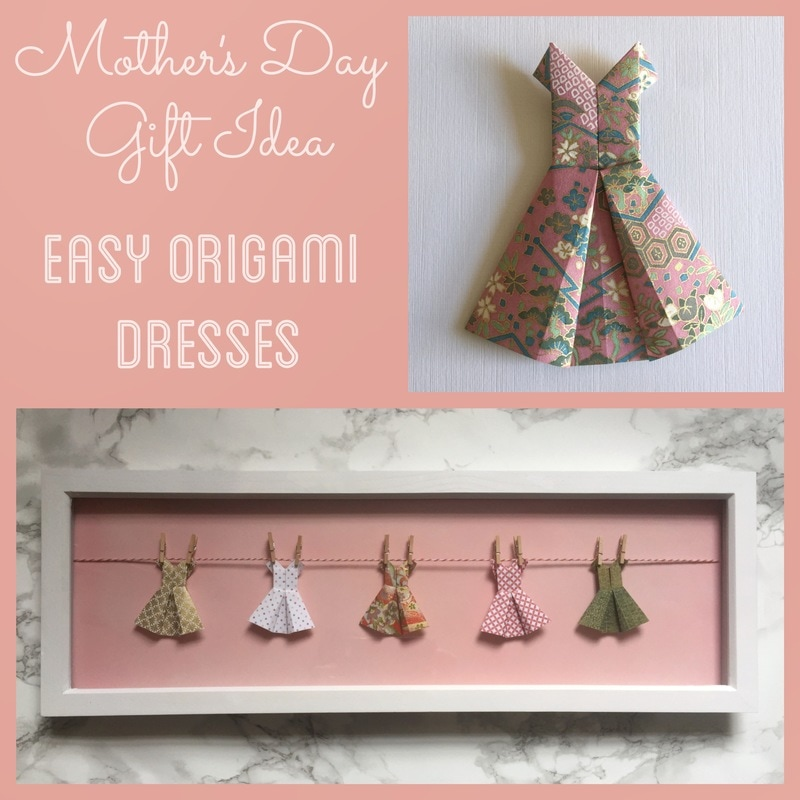 Mother's Day gift idea.  String origami dresses on mini pegs.  Use Japanese Yuzen Chiyogami paper for cute patterns.  Craft Chatterbox blog