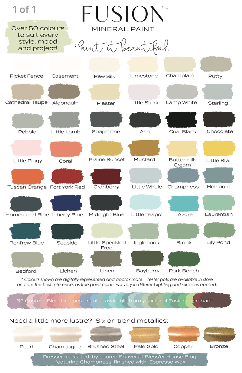 Fusion Mineral Paint colour chart.  Craft Chatterbox blog's review of the Muck N Brass upcycling workshop