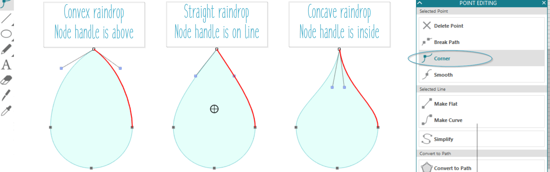 How to drawn raindrops and teardrops in Silhouette Studio.  Tutorial plus video and free cut file by Craft Chatterbox blog
