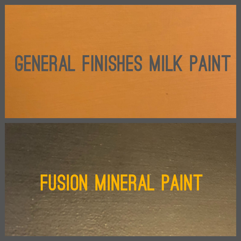 Comparison of the finish between General Finishes Milk Paint and Fusion Mineral Paint by Craft Chatterbox blog